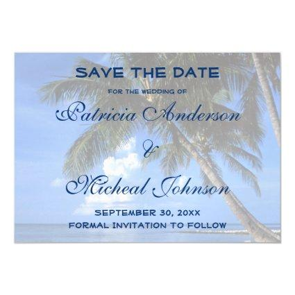 Tropical Beach Save The Date Wedding Magnetic Invitation