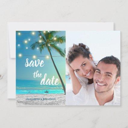 Tropical Beach String Lights Palms Save The Date Announcement