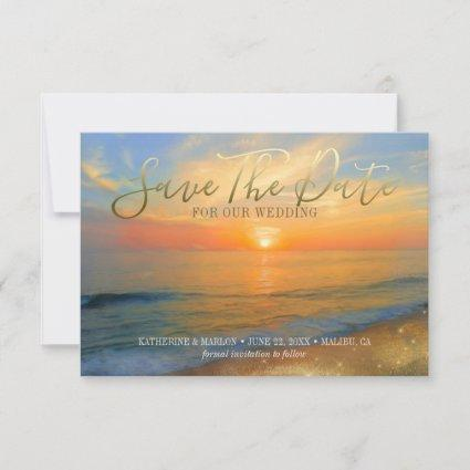 Tropical Beach Sunset Gold Sand Wedding Save The Date