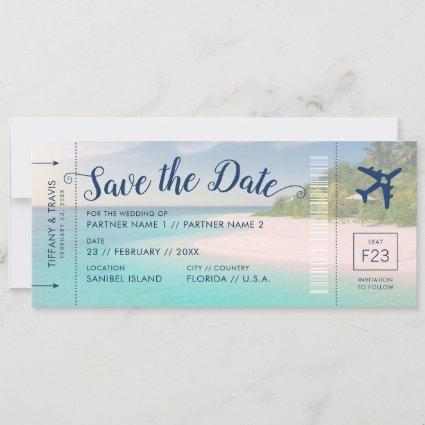 Tropical Beach Wedding Boarding Pass Save the Date Announcement