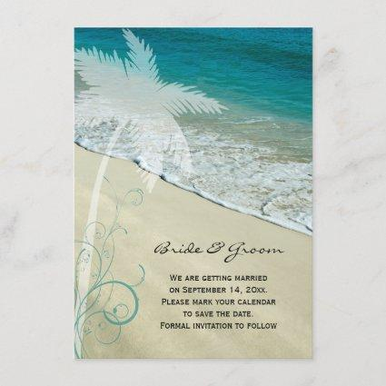 Tropical Beach Wedding Save the Date Announcement