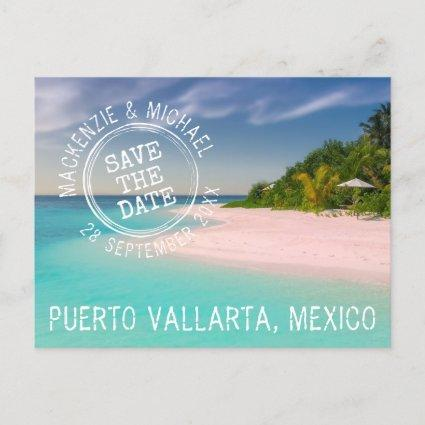 Tropical Beach Wedding Stamp Logo Save the Date Announcement
