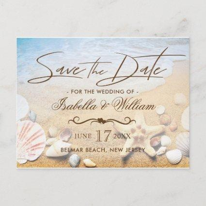 Tropical Beach Wedding Starfish Save the Date Announcement
