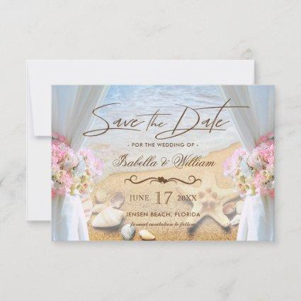 Tropical Beach Wedding Starfish Save the Date Card