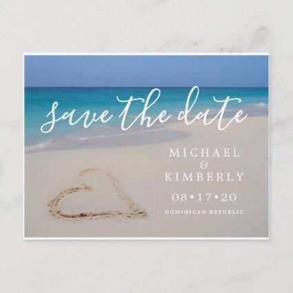 Tropical Beach with Heart Wedding Save the Date Announcement