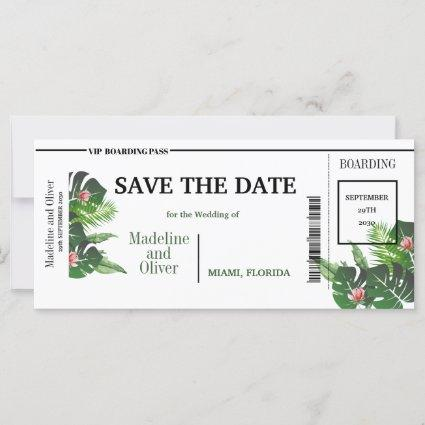 Tropical  Boarding Pass Wedding Save The Date