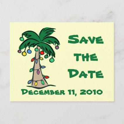 Tropical Christmas Palm Tree Save the Date Announcements Cards