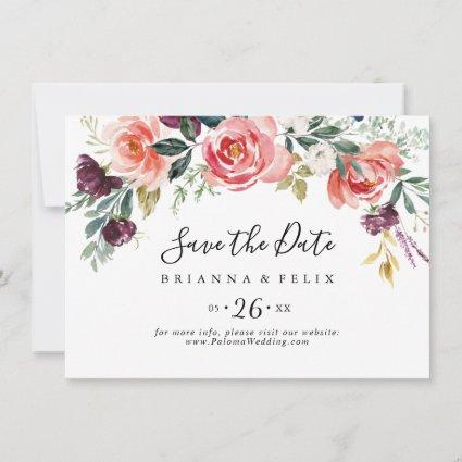 Tropical Colorful Summer Floral Horizontal Wedding Save The Date
