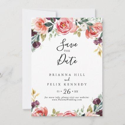 Tropical Colorful Summer Floral Minimalist Wedding Save The Date