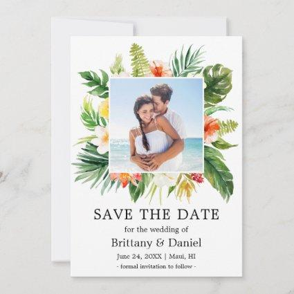 Tropical Coral Floral Save The Date Photo Card