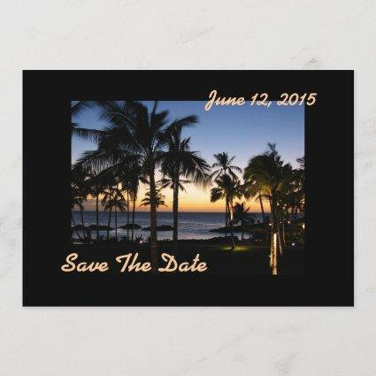 Tropical Destination Save The Date Card