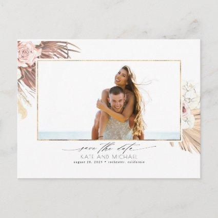 Tropical Dried Palm Leaf Save the Date Photo Announcement