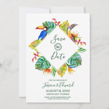 Tropical Exotic Floral Birds Hawaii Save The Date