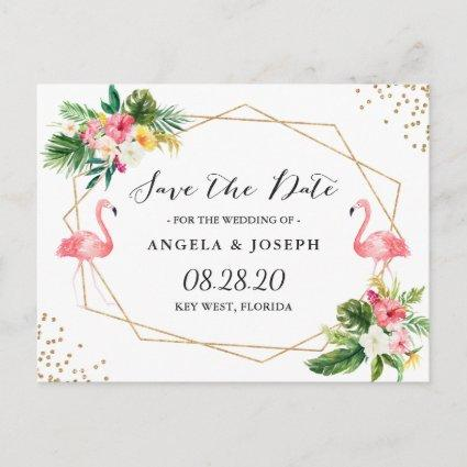 Tropical Flamingos Floral Wedding Save the Date Announcement