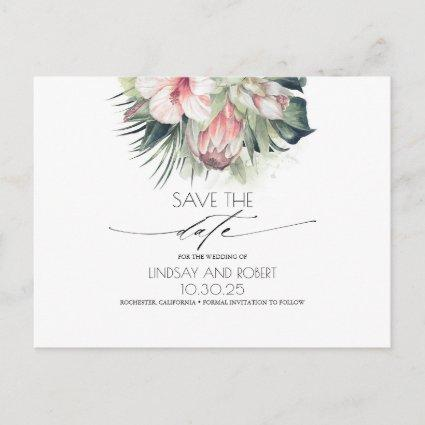 Tropical Floral Beach Wedding Save the Date Announcement