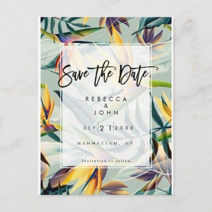 tropical floral exotic wedding save the date card