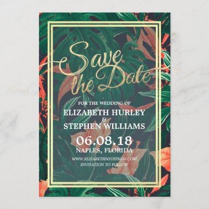 Tropical Floral & Gold Frame Wedding Save The Date