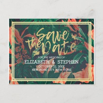 Tropical Floral & Gold Frame Wedding Save The Date Announcement