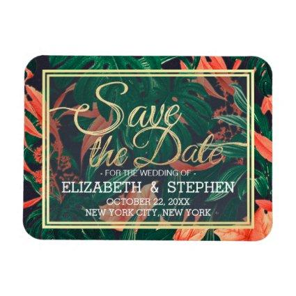 Tropical Floral & Gold Frame Wedding Save The Date Magnet