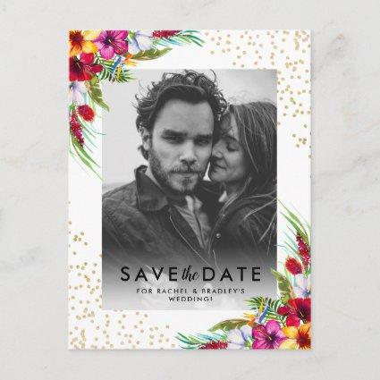Tropical Floral Gold Photo Wedding Save the Date Invitation