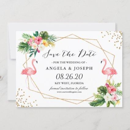 Tropical Floral Leaves Flamingos Save the Date