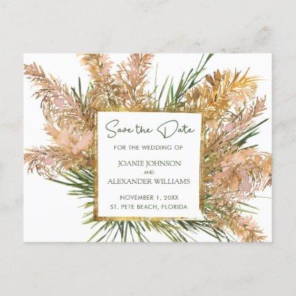 Tropical Floral Pampas Grass Wedding Save the Date Announcement
