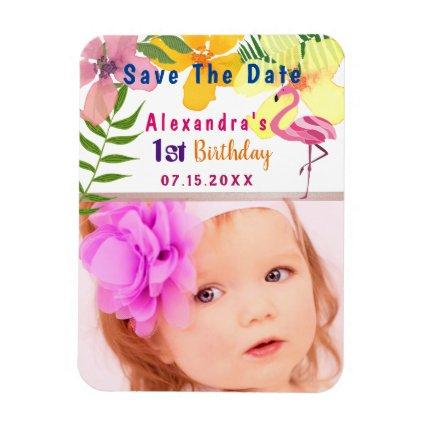 Tropical Floral Save The Date 1st Birthday Magnets