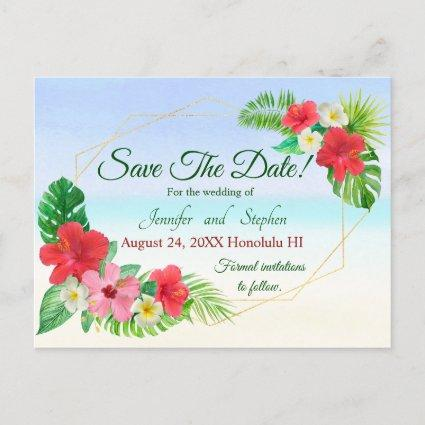 Tropical Floral Save the Date Wedding Announcement