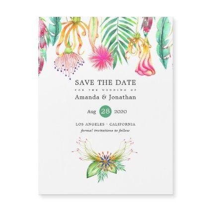 Tropical Floral Summer Beach Wedding Save the Date