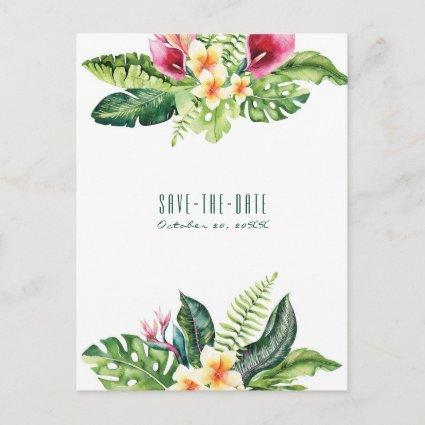 Tropical Flowers Leaves Floral Chic Save the Date Announcement