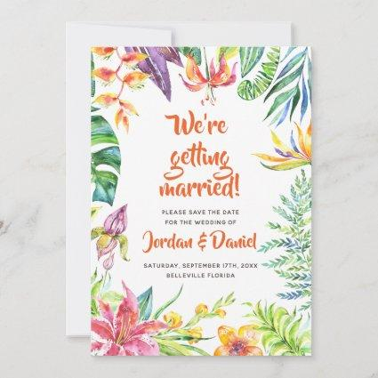 Tropical Flowers Watercolor Chic Save the Date
