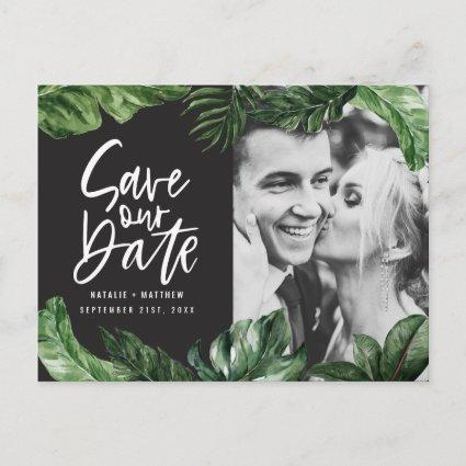 Tropical foliage and hand lettering photo wedding