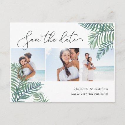 Tropical Foliage Beach Wedding Photo Save the Date Announcement