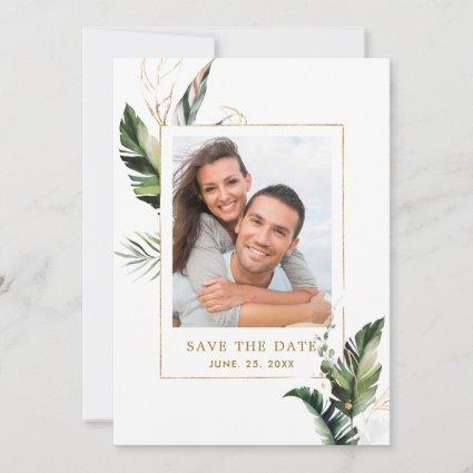 Tropical Foliage Gold Wedding Photo Save the Date