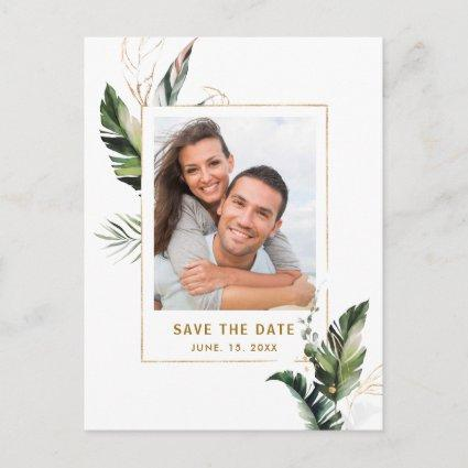 Tropical Foliage Gold Wedding Photo Save the Date Announcement