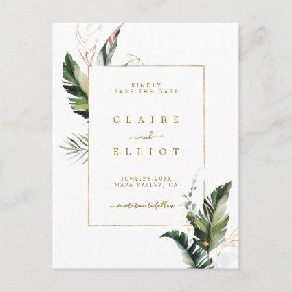 Tropical Foliage Gold Wedding Save the Date Announcement