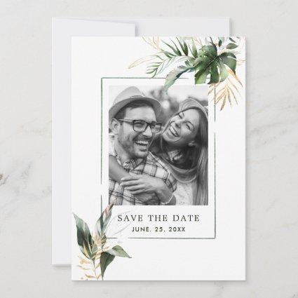 Tropical Foliage Green & Gold Photo Wedding Save The Date