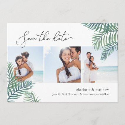 Tropical Foliage Photo Collage Save the Date Card