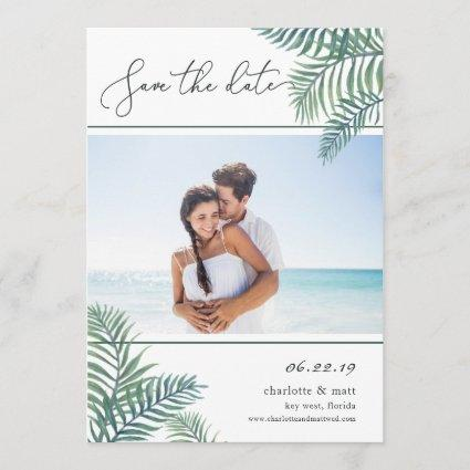 Tropical Foliage Photo Save the Date Card