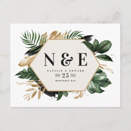 tropical foliage wedding save the date announcement