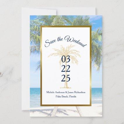 Tropical Gold Palm Tree Beach Photo Wedding Save The Date