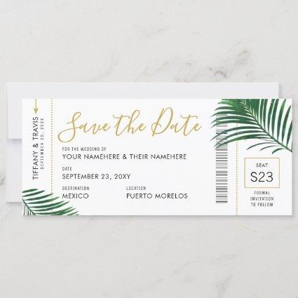 Tropical Green Leaves Boarding Pass Save Date Card