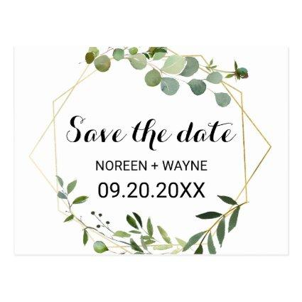 Tropical Green Leaves Save the Date Card