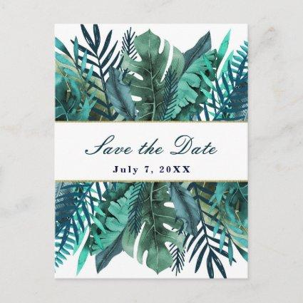 Tropical Green Teal Leaves Wedding Save the Date Announcement