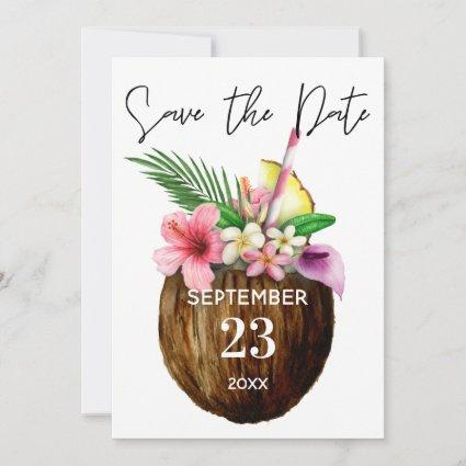 Tropical Hawaiian Floral & Coconut Save the Date