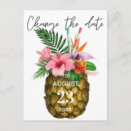 Tropical Hawaiian Floral Pineapple Change the Date
