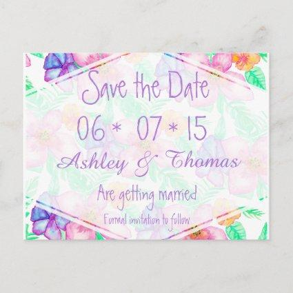 Tropical Hawaiian watercolor floral Save the Date Announcement