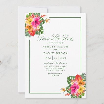 Tropical Hibiscus Floral Palm Leaves Luau Save The Date