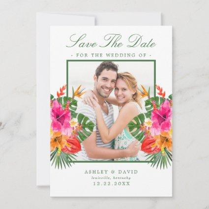 Tropical Hibiscus Floral Palm Leaves Save The Date