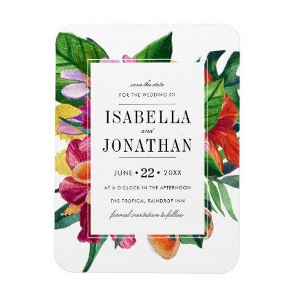 Tropical Hibiscus, Plumeria & Palm   Save The Date Magnet